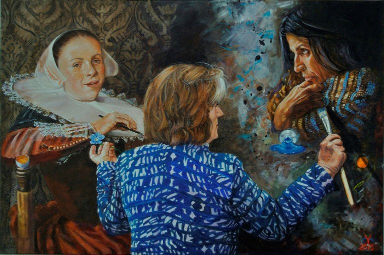 "Yvonne Welman, THREE GRACES, open acrylic on canvas; 47"" x 31.5""."