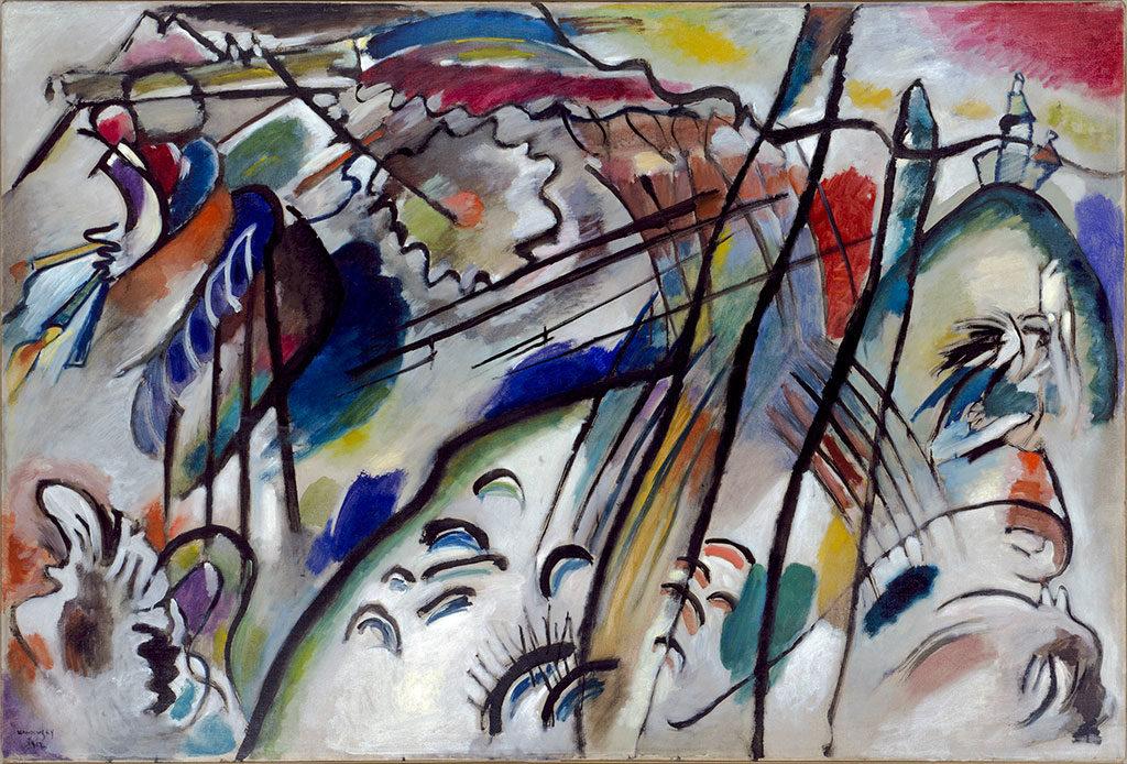 Wassily Kandinsky, Improvisation 28 (second version) (Improvisation 28 [zweite Fassung]), 1912. Oil on canvas, 111.4 x 162.1 cm. Solomon R. Guggenheim Museum, New York Solomon R. Guggenheim Founding Collection, By gift 37.239. © 2015 Artists Rights Society (ARS), New York/ADAGP, Paris