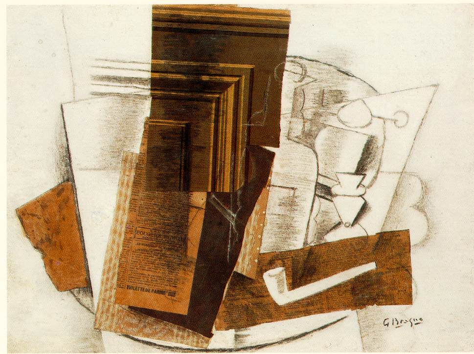 George Braque, Bottle, chalk, charcoal, collage, pastel, paper, 1914. Private Collection.
