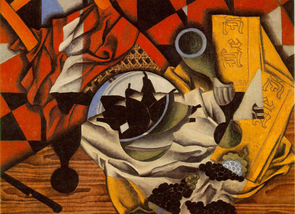 Juan Gris, Pears and Grapes on a Table, Céret, autumn 1913. Oil on canvas, 21 1/2 x 28 3/4 in. / 54.6 x 73 cm. Promised Gift from the Leonard A. Lauder Cubist Collection