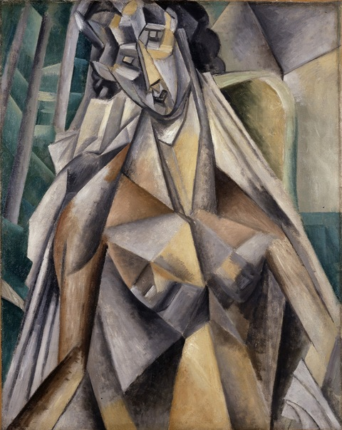 Pablo Picasso, Nude in an Armchair, Horta de Ebro (present-day Horta de Sant Joan), summer 1909. Oil on canvas, 36 1/4 × 28 3/4 in. / 92.1 × 73 cm. Promised Gift from the Leonard A. Lauder Cubist Collection. © 2014 Estate of Pablo Picasso / Artists Rights Society (ARS), New York.